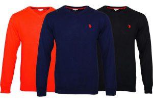 Bild von US Polo Assn Pullover mit V-Ausschnitt aus Baumwolle in der Farbe und Größe nach Wahl