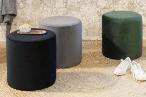 Bild von Lifa Living Samthocker in Schwarz, Grau oder Grün