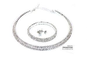 Bild von 1x oder 2x 3-tlg. Schmuck-Set mit Kette, Armband und Ohrringe mit Kristallen mit Swarovski®-Kristallen