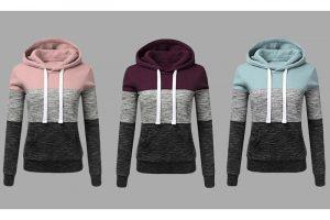 Bild von 3-Farbiger Hoodie für Damen in der Farbe und in der Größe nach Wahl ab 18,80€
