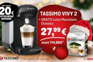 Bild von TASSIMO VIVY 2 inkl. GRATIS Jacobs Latte Macchiato Classico Kapseln sowie Gutscheinen im Wert von bis zu 20€