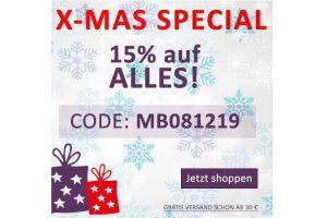 Bild von X-Mas Special: Jetzt 15% sparen! Code: MB081219 – Ab einem Einkaufswert von nur 40€